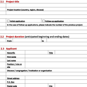 Project application form